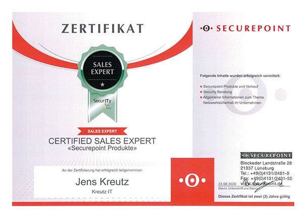 Certified Sales Expert - Securepoint Produkte (06/2020)