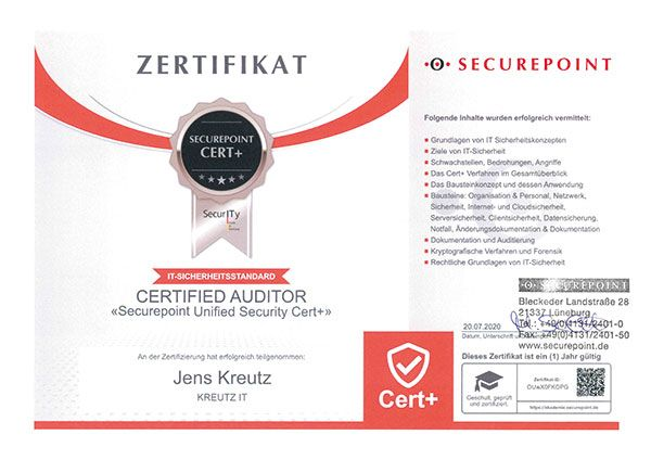 Certified Auditor Securepoint Unified Security Cert+ (07/2020)