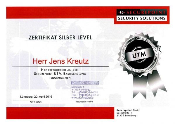 SECUREPOINT UTM SILBER LEVEL (04/2016)
